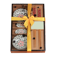 Japanese Tableware Set Ceramics Sushi Saucer Set For Two In Gift Box Red