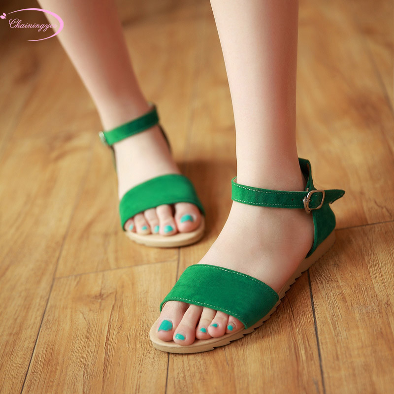 Casual style comfortable nubuck summer sandals fashion belt buckle black green red orange low with thick heels women shoes
