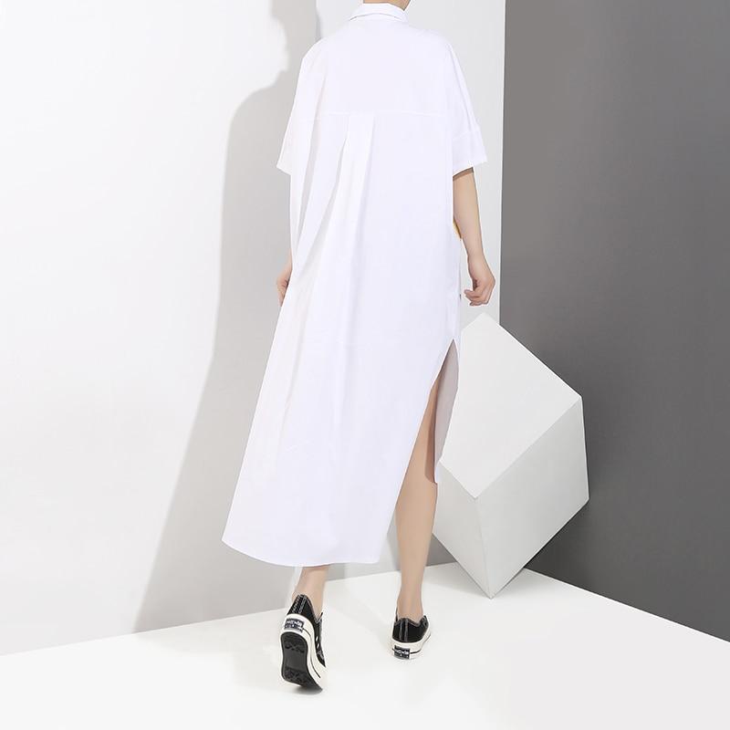 2018 Women White Asymmetrical Shirt Dress With Big Pockets Short Sleeve  Sides Split Girls Plus Size Midi Irregular Dresses 3372-in Dresses from  Women s ... 631e02a65229