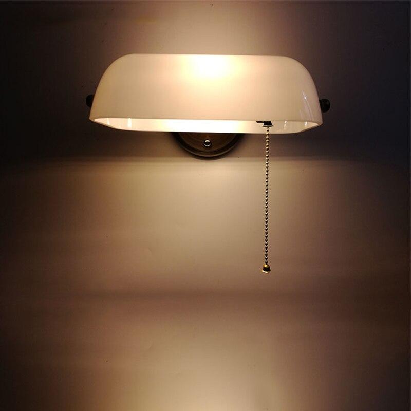 Retro tradicional banqueiro verde lâmpada de parede