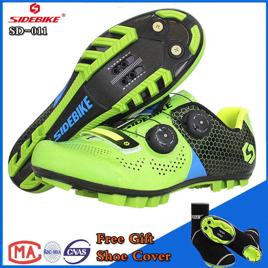 SIDEBIKE Mountain MTB Cycling Shoes Bike Ultra light carbon fiber Sole Auto-lock Bicycle Sport Shoes Zapatillas Ciclismo GREEN future carbon fiber bicycle crank mtb bike crankset ultra light carbon crank road cycling accessaries bcd130 170mm 175mm