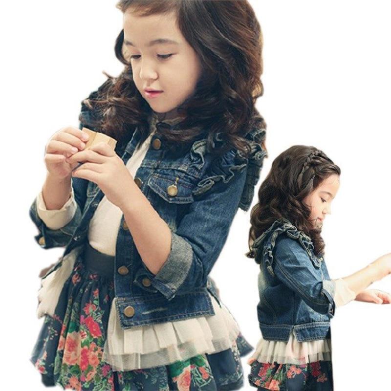 Long Sleeve Cute Girls Jean Coat Fashion Lace Hem Toddler Kids Denim Jacket Girls Outerwear Baby Girl Clothes 2019 Fall Winter