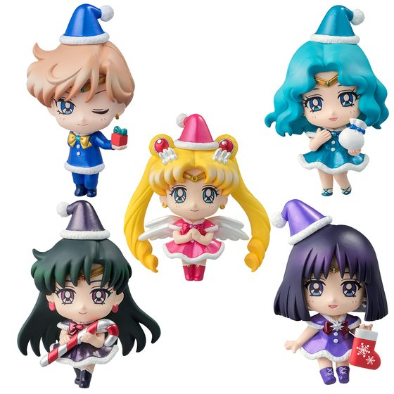 Sailor Moon Petit Chara ~ Christmas Special Outer Solar ~ 5 Figure Full Set Anime Toy 100% Original peach pit shugo chara 4