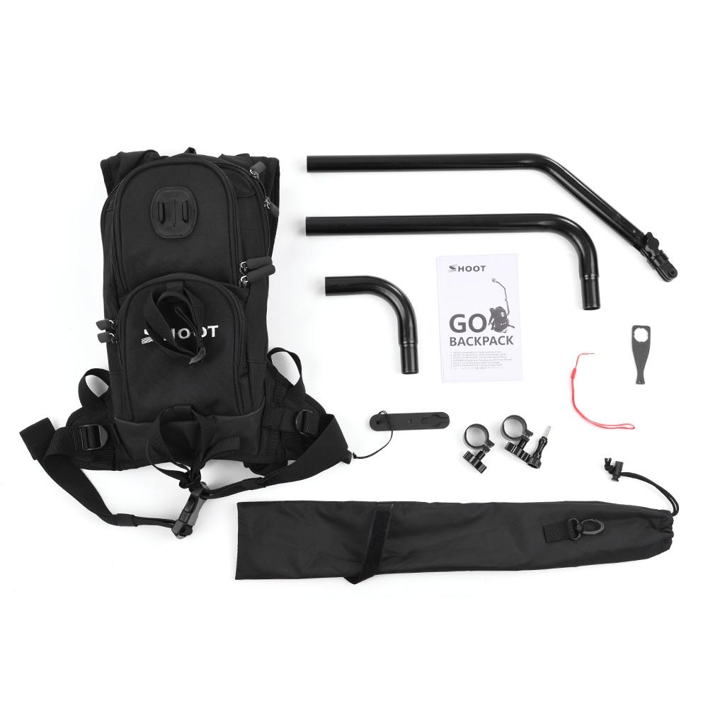 Moto vélo Selfie sac à dos pour GoPro Hero 5 4 Session Yi 4 K Go Pro Hero 3 sac à dos SJCAM SJ4000 caméra pôle bâton - 4