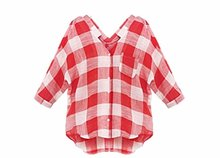 Abetteric Women's Classic 3/4 Sleeve Plaid Blouse Shirt Top