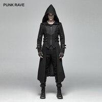 Панк рейв для мужчин готический черный куртка с капюшоном, пальто стимпанк рок стиль сценические костюмы модные длинные Тренч