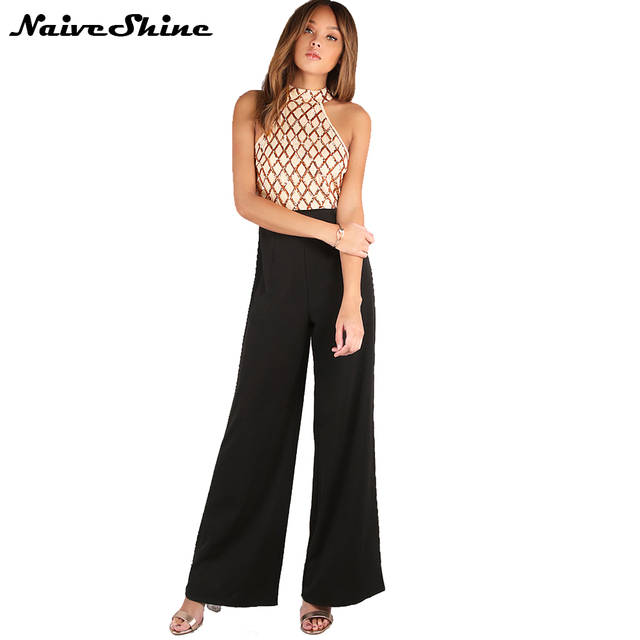 852324532d1b Naive Shine Elegant Halter Wide Leg Women Jumpsuits Sequin Patchwork Off  Shoulder High Waist Sleeveless Summer Overalls Rompers