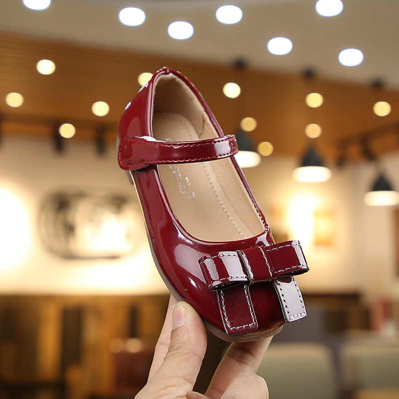 Wygodne dla dzieci jesień dzieci buty dziewczyny sandały moda łuk księżniczka skórzane buty dziewczęce buty w stylu casual buty do tańca dla dzieci