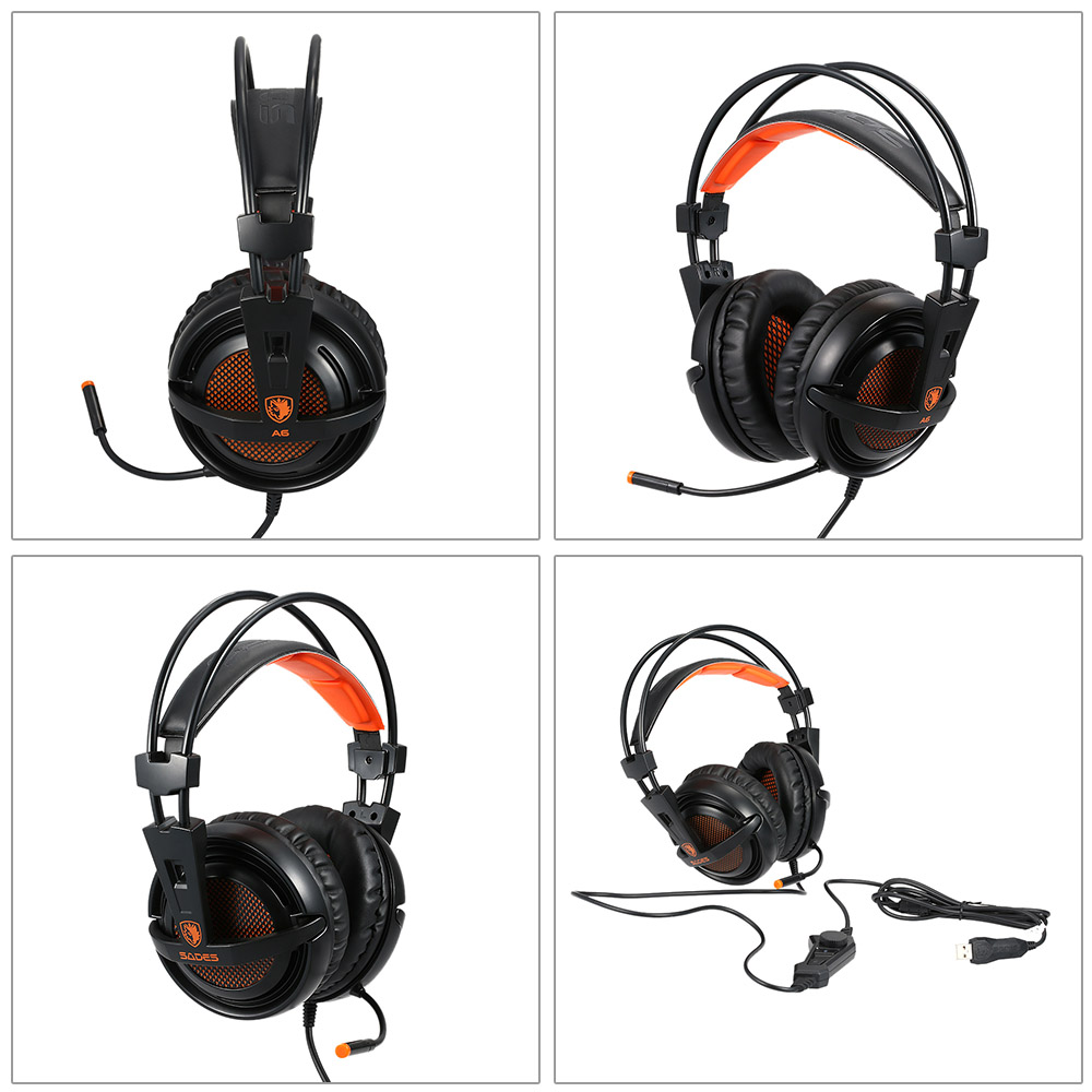 SADES A6 USB 7.1 Stereo wired gaming headphones game headset over ear with mic Voice control for laptop computer gamer 14