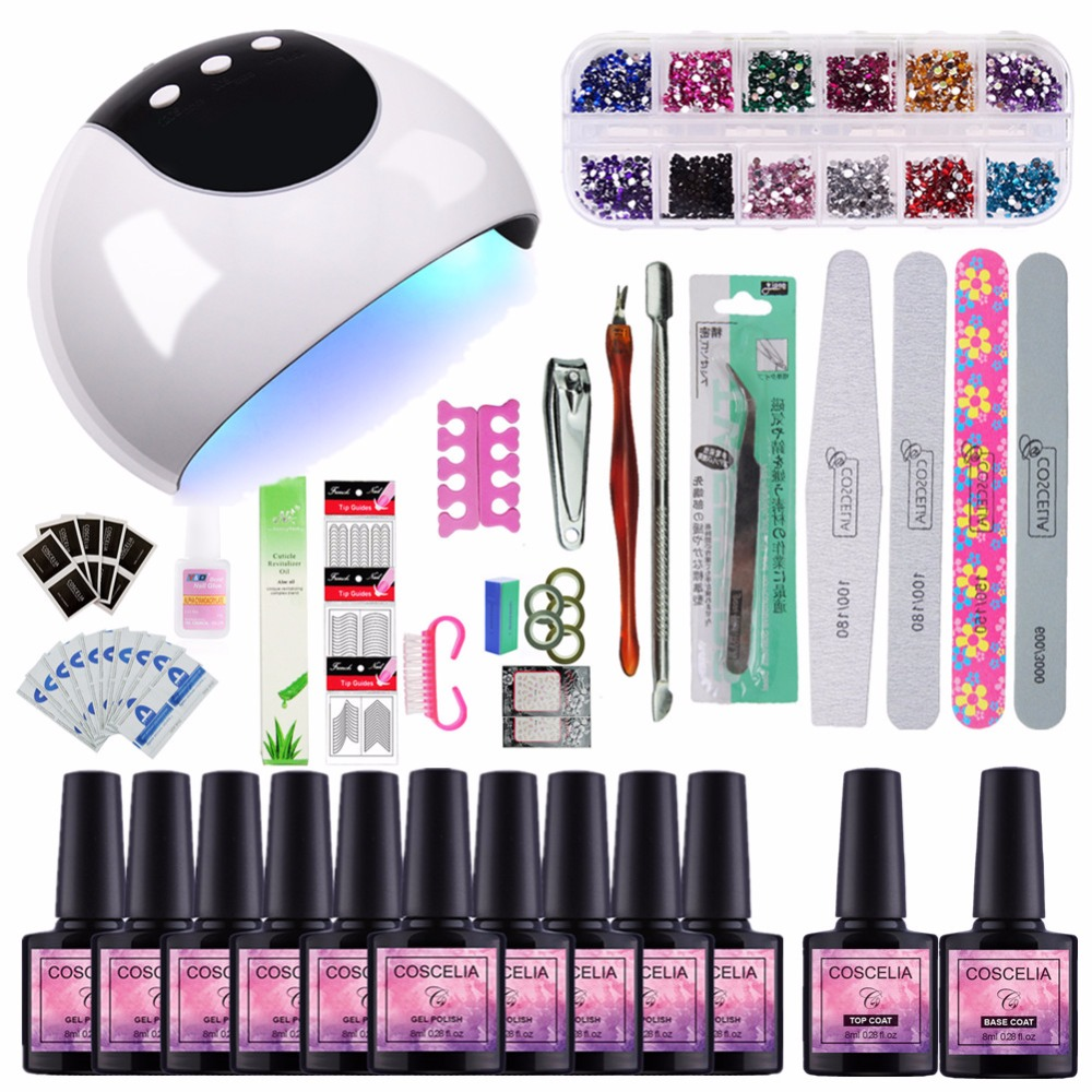 Nail Set 24W UV Lamp Dryer With 10pcs Nail Gel Polish Soak Off Manicure Products Lasting Gel Nail Polish Kit For Nail Art Sets