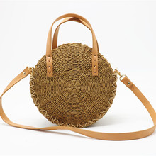 Fashion Women Straw Bag Hand- Rattan Woven Straw Bag Bohemian Summer Round Handbag Travel Shopping Female Tote Shoulder Bags woman s hand woven round shoulder bag fashion handbag bohemian summer straw beach bag travel shopping female tote chain bags