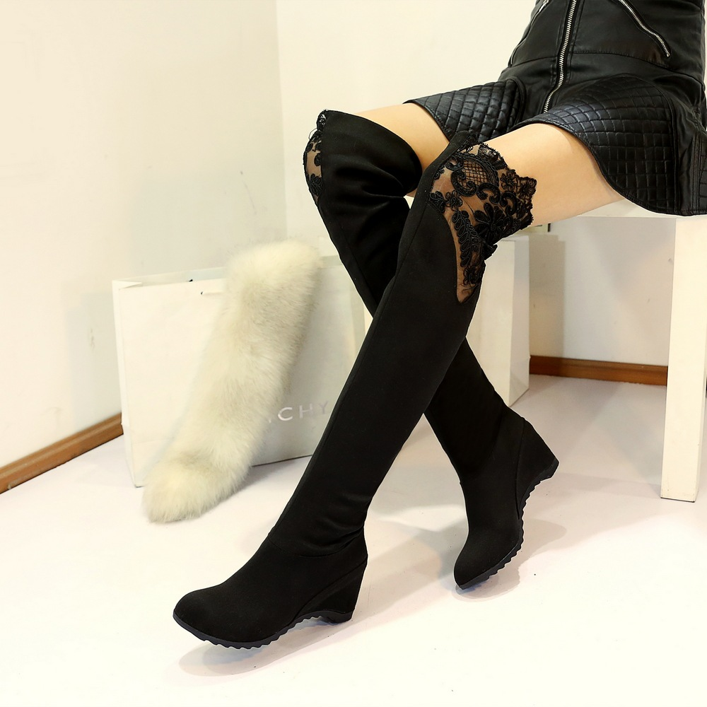 2016 Winter Sexy Womens Over The Knee Boots Black Elasticity Wedge Heel Boots For Woman Thigh High Overknee Shoes Bottes Femmes
