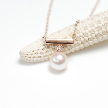 Sinya Real diamonds Balance beam necklace with 7-7.5mm Akoya Round pearl AU750 18k gold fine jewelry for women ladies girls snow country balance seawater akoya pearl necklace pendent for girlfriend 18k solid gold fashion jewelry free shipping