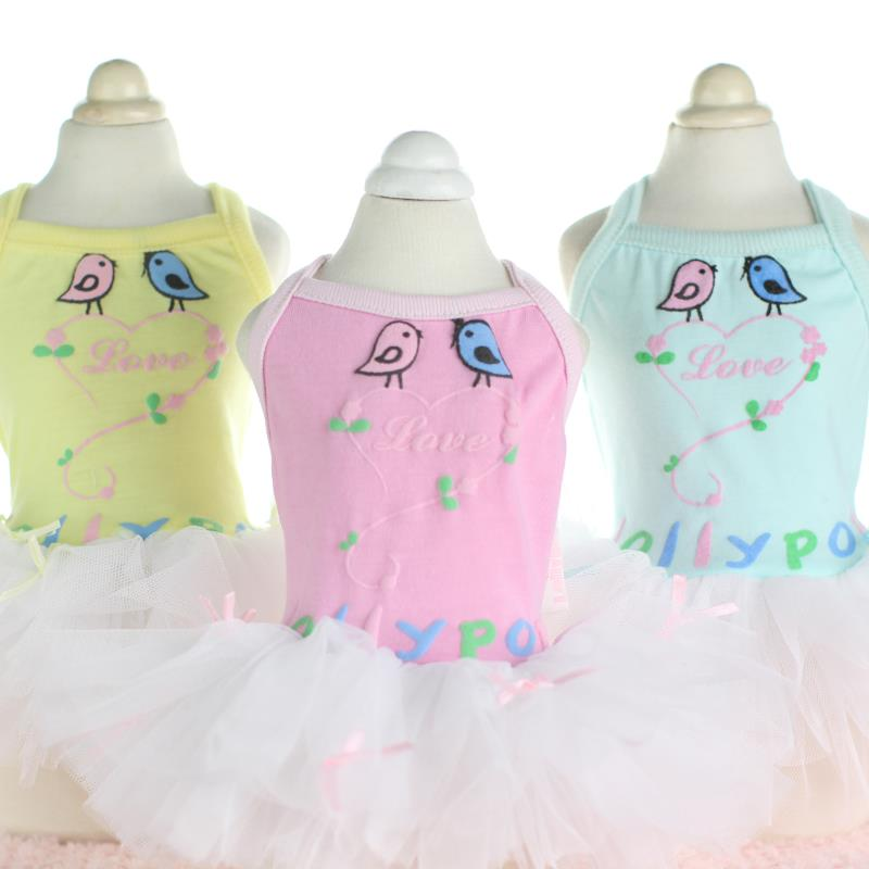 Pár szerelmes madarak csipke kutya ruhák női kutya ruhák - Pet termékek