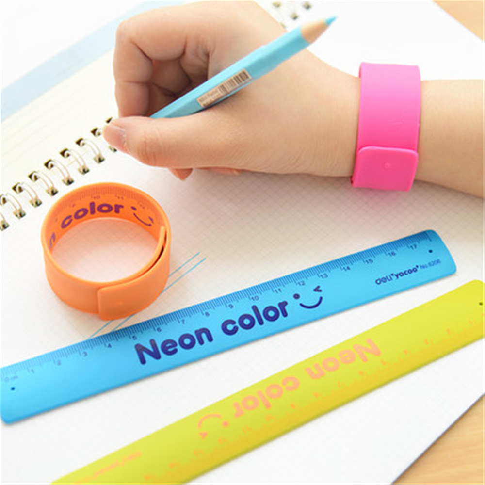 3pcs/set Cute Silicone Folding Type Colored Slap Bracelet Ruler School Student Drafting Supply Drawing Ruler Straight Ruler