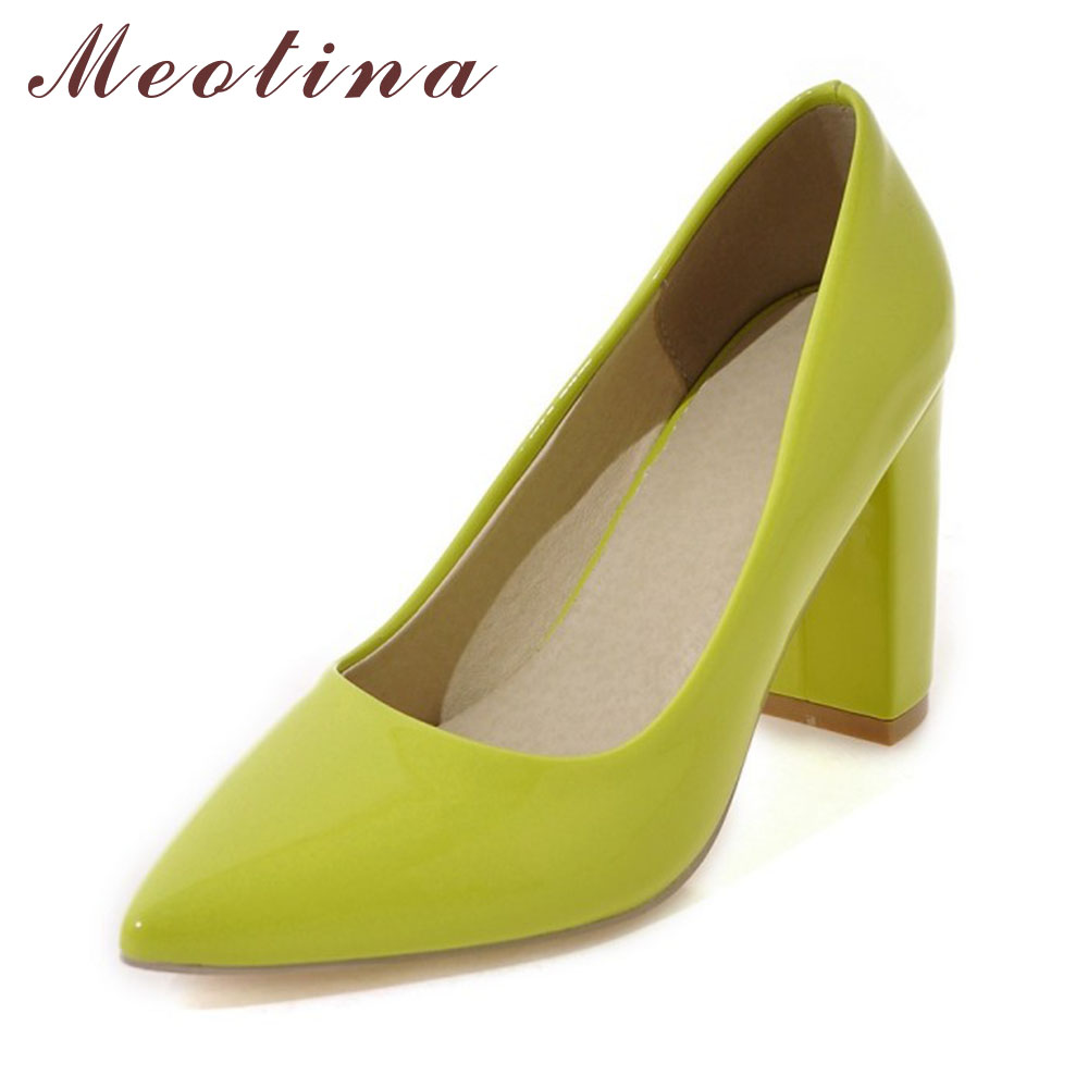 Meotina High Heels Shoes Women Pumps Pointed Toe High Heels Dress Patent Leather Ladies Shoes Red Black Yellow Big Size 9 10 43 meotina high heels shoes women pumps party shoes fashion thick high heels pointed toe flock ladies shoes gray plus size 10 40 43