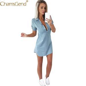 f15ad6581a7 Chamsgend Denim Blue Women Summer Short Mini Dress