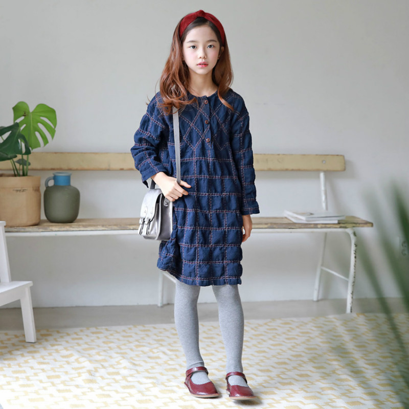 2018 New Autumn Girls Cotton Shirt Baby Princess T-shirt Dress for Kids Retro Trend Children Plaid Shirts Pleated Toddler,#3267 pocket patched plaid curved hem shirt dress