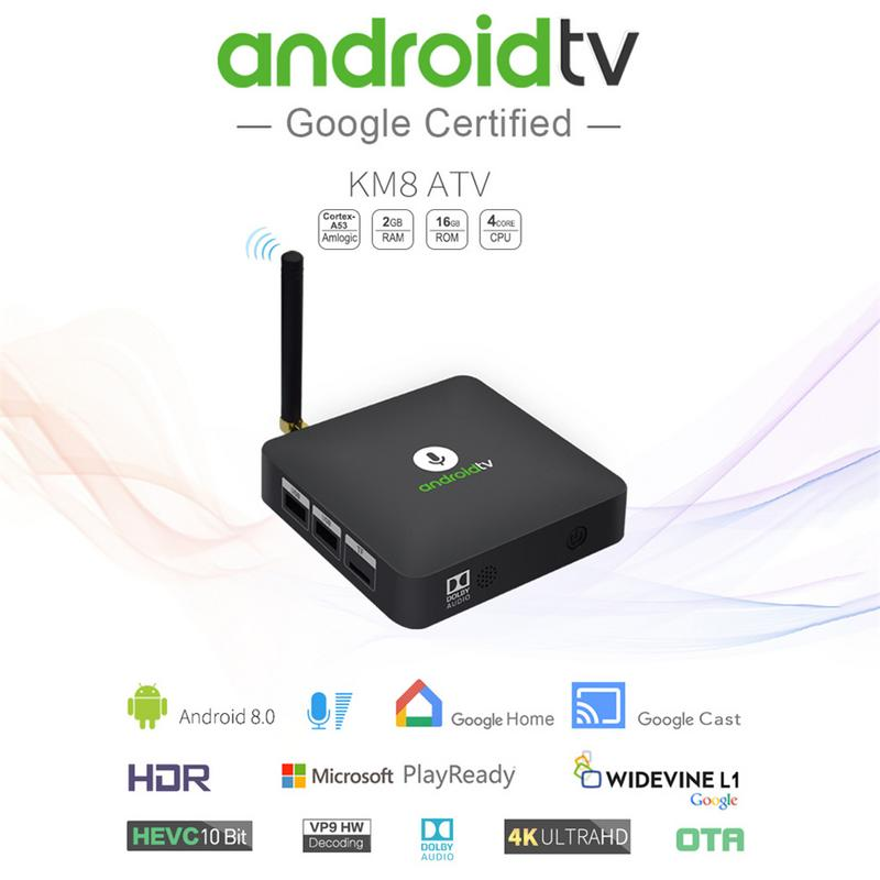 WiFi set top box Google Certified AndroidTV Voice Version KM8 Set-top Box S905X2G16G Android 8.0 Set Top Box Bluetooth 4.2 new cheap hd tv home cinema projector hdmi lcd led game pc digital mini projectors support 1080p proyector 3d beamer