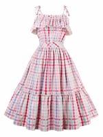 Sisjuly Vintage Dresses Plaid Pattern Summer Dress Sexy Spaghetti Strap Design Midi Dresses For Women 388966