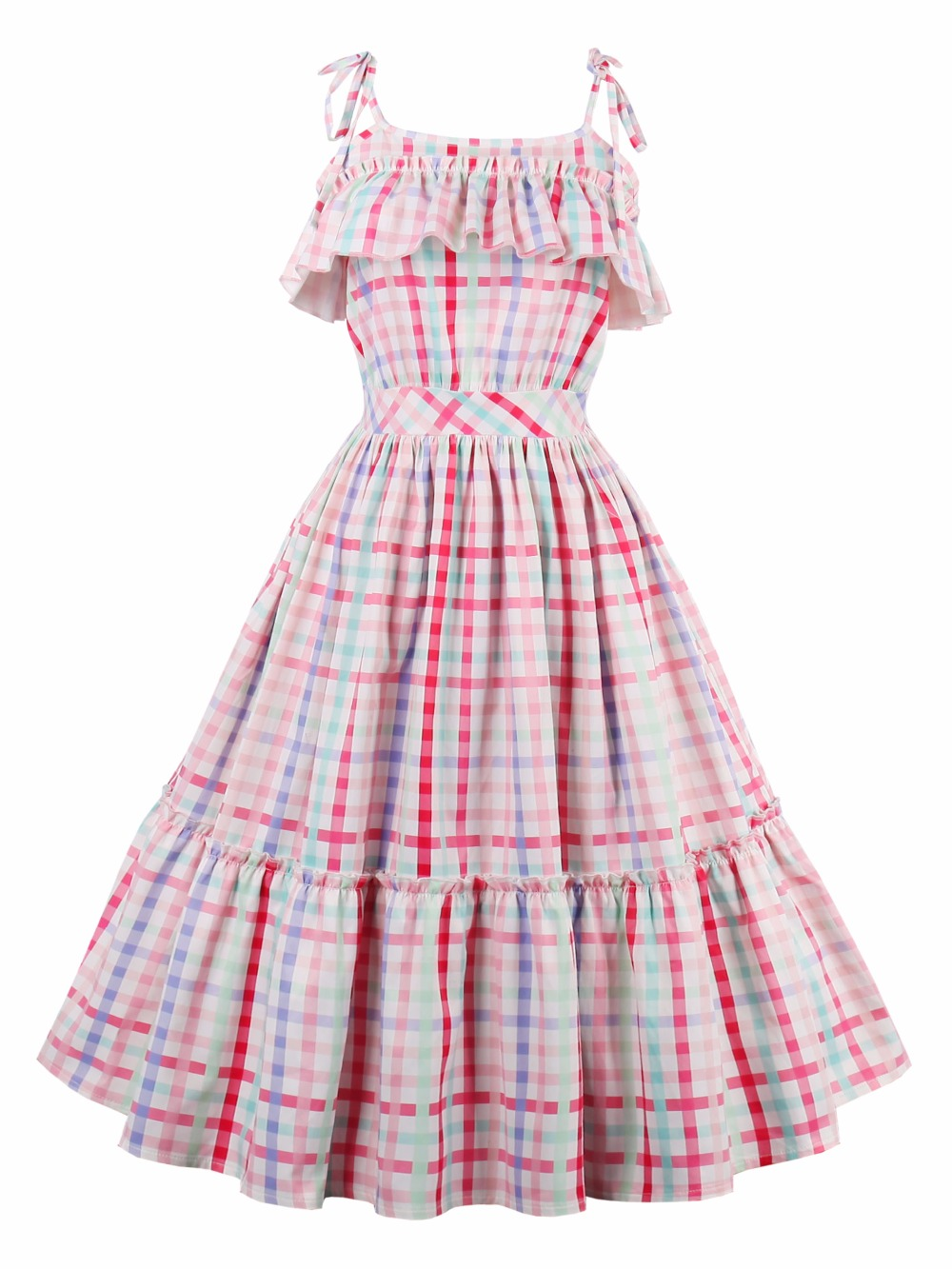 Sisjuly Vintage Dresses Plaid Pattern Summer Dress Sexy Spaghetti Strap Design Midi Dresses For Women 388966