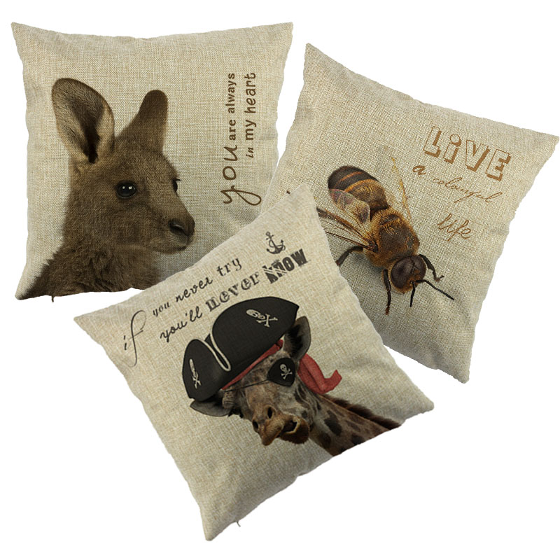oreiller kangourou ₪3D Imprimé Animal Housse de Coussin Coloré Kangourou Abeille  oreiller kangourou