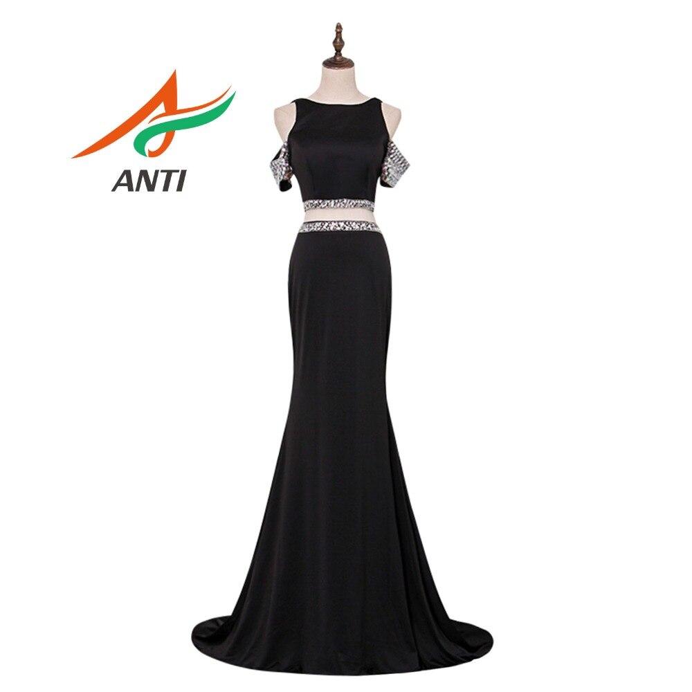8bde21f597e15d ANTI Sexy Backless Prom Dresses Long Black Beaded Crystal Vestidos De Festa Mermaid  Party Gala Dress