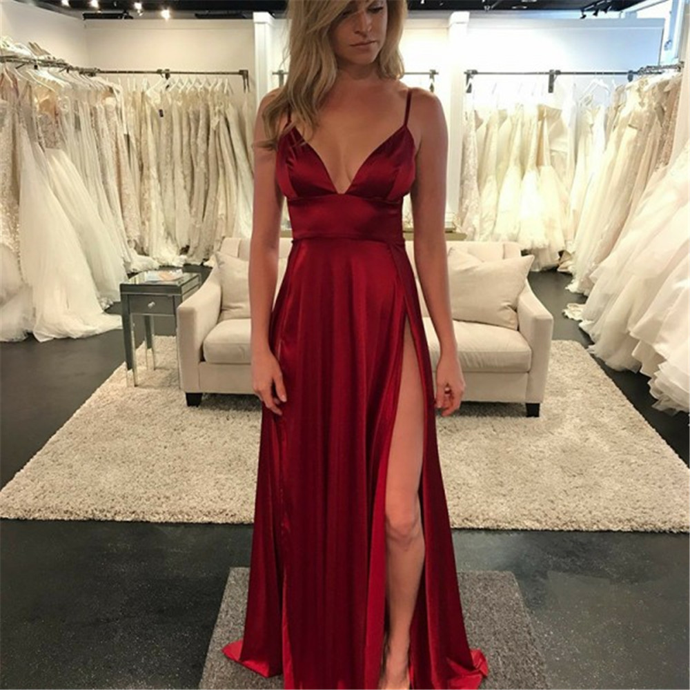 New Burgundy Satin Bridesmaid Dresses High Split Spaghetti Strap A Line Sexy Maid Of Honor Dress 2019 Cheap Wedding Party Gowns