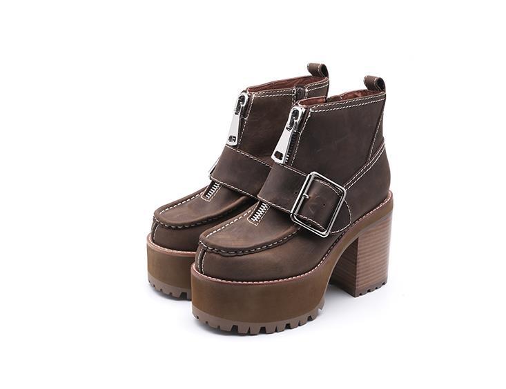 Pictures Bout Vieux Rond Dames Avant Carré Femmes Hauts Abesire Talons Chaussures Bottines As forme Épais 2019 Plate Style Femme Décontractées Zip qIw1ERS