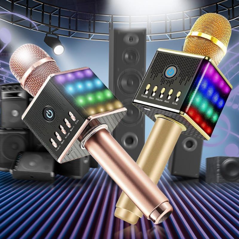 Portable Wireless Karaoke Microphone with LED Light Speaker Wireless Bluetooth for Smartphone Handle Home KTV Karaoke Speaker doitop original q10s wireless bluetooth microphone karaoke speaker home ktv mic with 4 loudspeakers voice change for phones b4