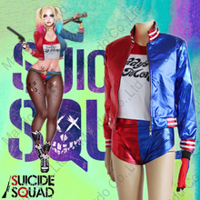 Women Batman Suicide Squad Harley Quinn Cosplay Costumes jacket + t-shirt + shorts + gloves 4pcs set suit Girls halloween outfit