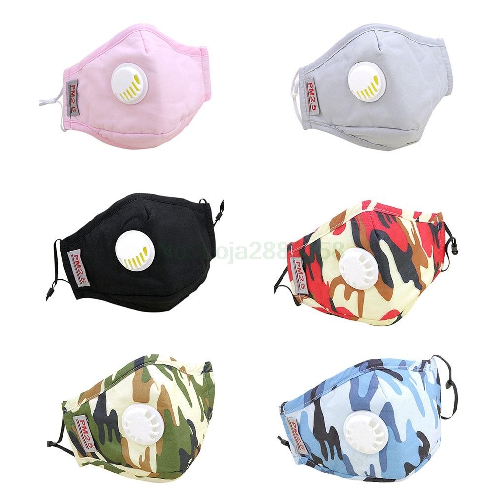 Intelectivo Unisex Adulto Pm2.5 La Boca De Algodón Máscara Reemplazable Filtro De Aire De Carbono Camuflaje Boca Mufla Respirador Con Válvula De Escape