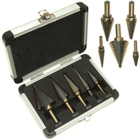 YOFE 5pcs Set HSS COBALT MULTIPLE HOLE 50 Sizes STEP DRILL BIT SET With Aluminum Case