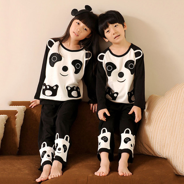a54dc4e40971 100% Cotton Panda Sleepwear Kids Pajamas Sets For Boys And Girls Kids Pjs  Pijamas Enfant Child s Leisure Wear Baby Clothing
