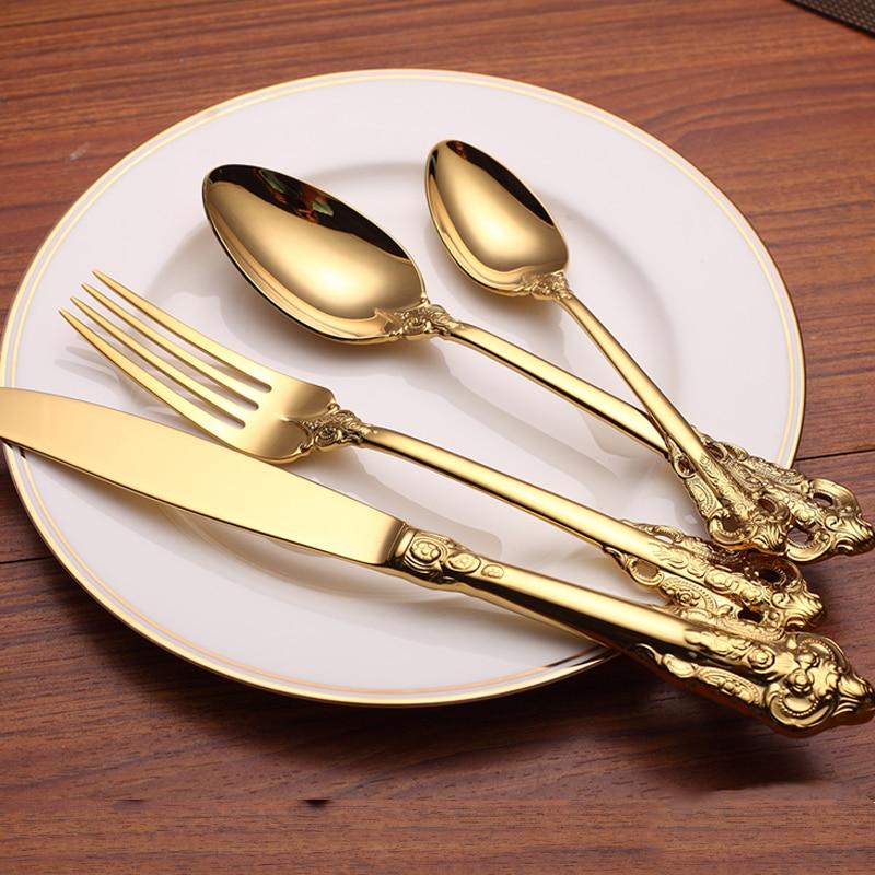 Western Retro Rose embossed handle Cutlery Set Luxury Gold ...