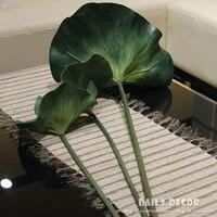 4 stks/partij hoge kwaliteit kunstmatige lotus bladeren giant leaf decoratie met lange stem nep waterlelie planten voor slechte of fishpond