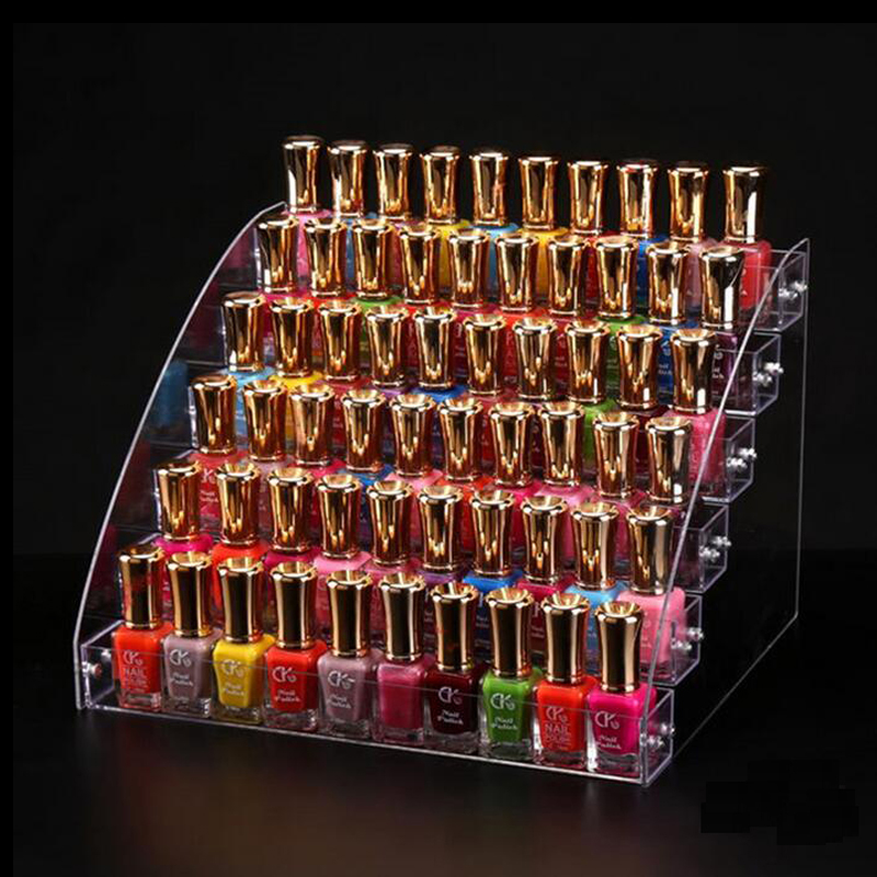 Acrylic Nail Polish Organizer Essential Oil Storage 2-7 Layers Manicure Cosmetics Jewelry Display Stand Holder Clear Makeup Box