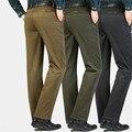 Moda de alta qualidade de algodão Preto dos homens Calça Casual de Negócios de Casamento Escritório Calças Formais Calças Retas Terno Traje Homme