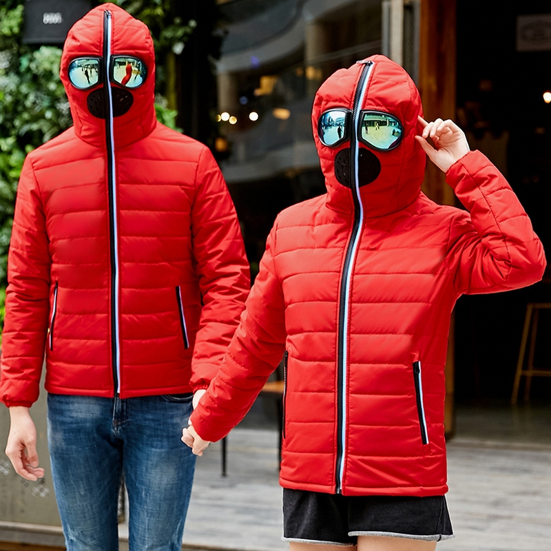 Brand Clothing Men's Winter Jacket Men Glasses   Parkas   Men Padded Hooded Coat   Parka   Male Warm Windproof Jacket Lovers Couple Coat