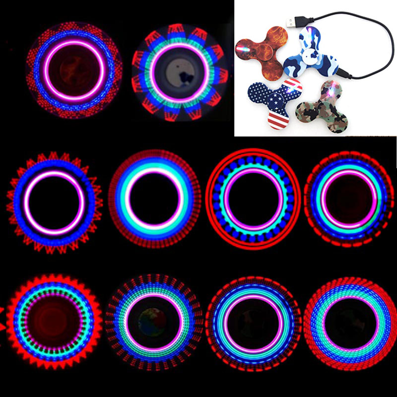 2017 Hand Spinner Glow in the Dark Fluorescent Fidget Spinner With Charger Luminous Light UP Shining