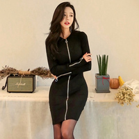 Casual Round Neck Zippers Long Knitted Sweater Dress Women Slim Bodycon Dress Cotton Sexy Black Party Dress pull femme 2018