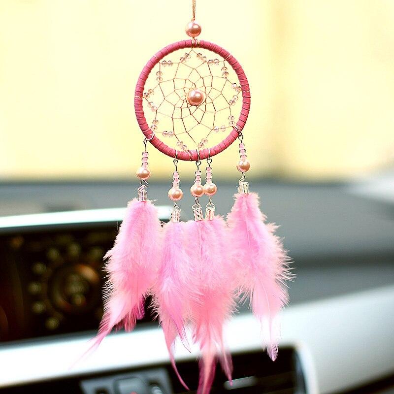 Dream Catcher Car Accessory Interior For Girls Car Hanging Ornament Feather Pendant Car Mirror Auto Ethnic Decor Home Adornments