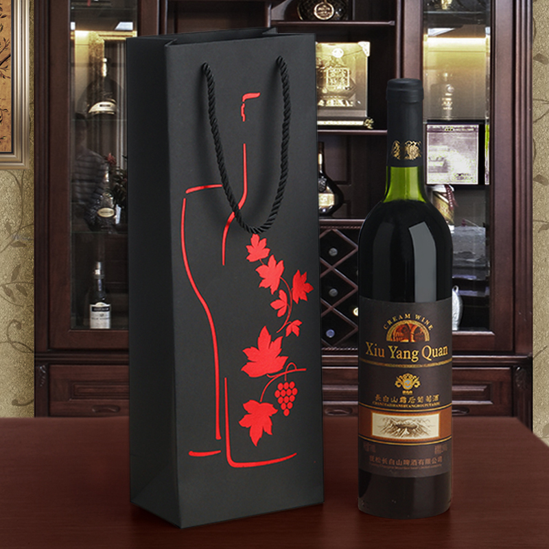 Black Paper Single Wine Bottle Carrier Ritzy High Quality Wine Grape Pokal Design Golden Red Hot-stamping Gift Bags