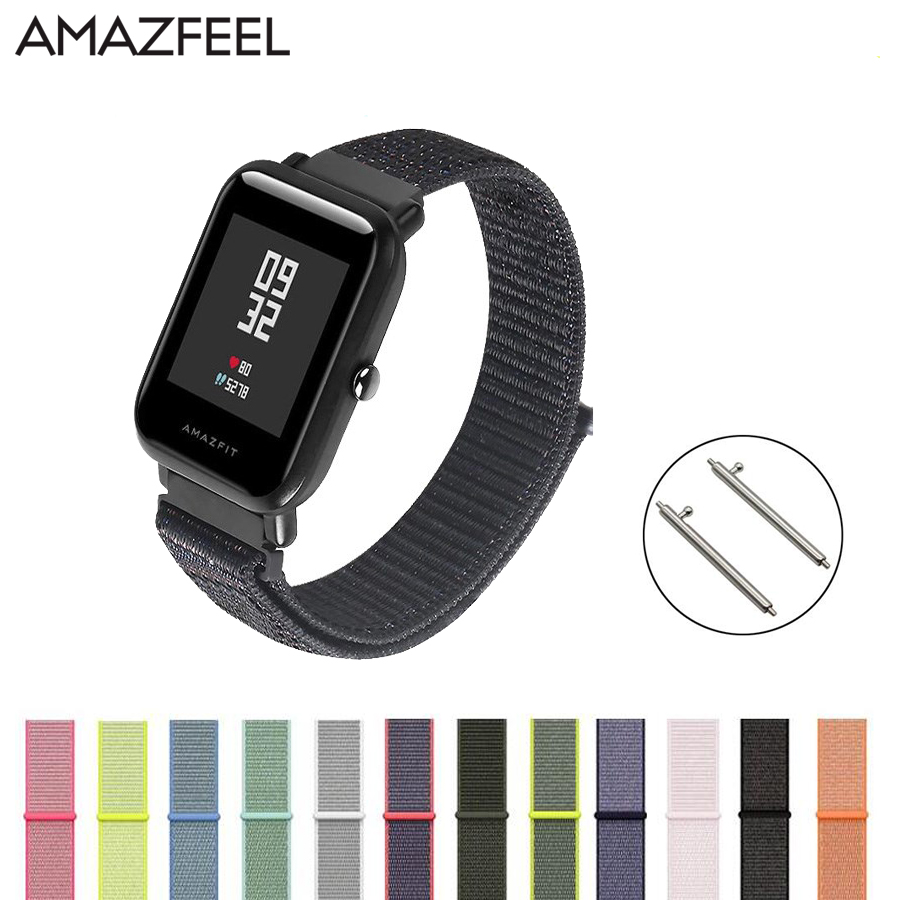 20mm Nylon Loop Strap for Original Xiaomi Huami Amazfit Bip BIT Lite Youth Smart Watch Wearable Wrist Bracelet Amazfit Watchband