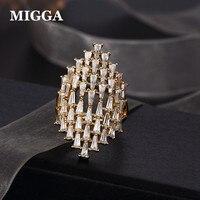 Роскошный большой Стиль кубического циркония кольцо bague Anillo золото Цвет CZ Кристалл Для женщин дамы партия ювелирных изделий