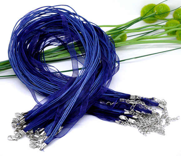 "Rope+Organza+Alloy Cord String Necklace Deep blue 43.2cm(17"") long, 2 PCs new"