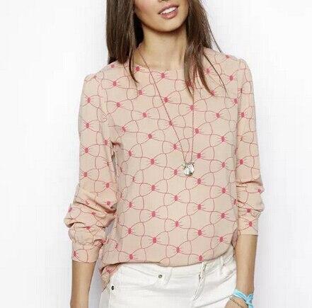Women sweet bowknot print blouses summer chiffon Blusas Femininas ...