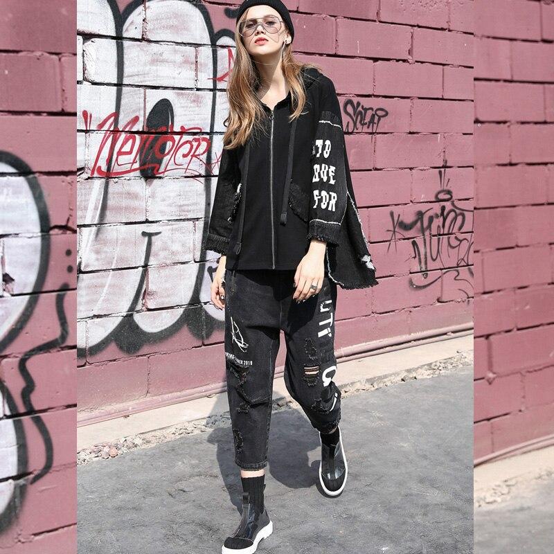 Punk Chauve Vêtements souris Pour Impression Z30 Styles Veste Noire Usure Mot 2020 Irrégulière Avec Lâche 2019 Manches Manteau Femme Printemps KcTF3lJ1