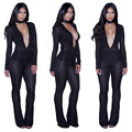 Sexy Perspective Mesh Patchwork Long Jumpsuit Black Deep V Neck Club Wear Full Sleeve Bodycon Playsuits Plus Size Rompers