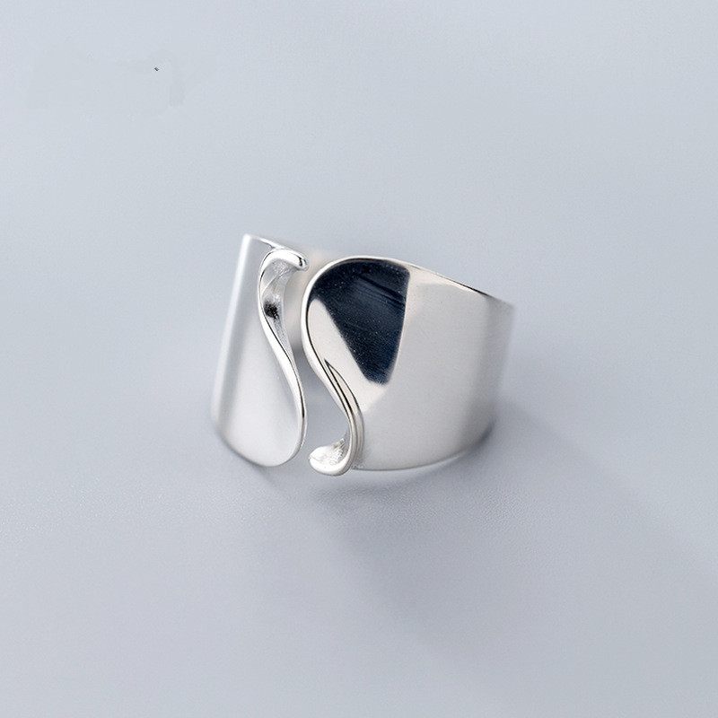 LouLeur 925 Sterling Silver Glossy Wide Face Wave Open Rings Silver Creative Texture Elegant Female Rings New 925 Silver Jewelry